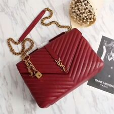 Yves Saint Laurent Monogramme Calf leather Shoulder Bag  red Gold chain