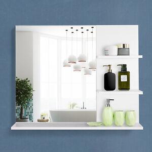 kleankin Badspiegel mit 3 Ablagen Wandspiegel Spiegelregal Badezimmer MDF