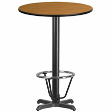 """30"""" Round Restaurant Bar Height Table with Natural Laminate Top and Foot Ring"""