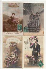Lot 4 cartes postales anciennes FANTAISIES ballon gonflable montgolfière