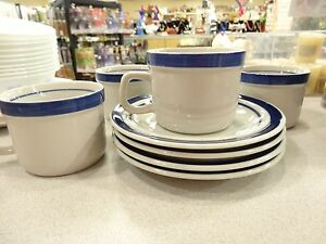 SET OF 4 MSI Vintage Blue Monterrey Stoneware COFFEE Cup & Saucer RETIRED