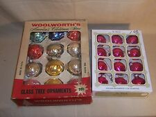 "Vintage Glass Ornament Lot Christmas Tree Balls Woolworth's Noelle 1 3/4"" Pink"