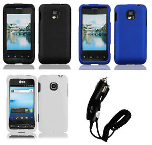 Car Charger + Faceplate Hard Cover Phone Case for LG Optimus 2 AS680
