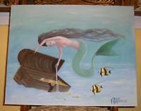 MERMAID OCEAN FISH PEARLS TREASURE CHEST OF PEARLS JEWELRY GOLD OIL PAINTING