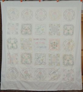 """Embroidered """"Album"""" Quilt SUNFLOWERS Signed, Dated 1932"""