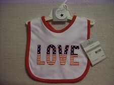 NEW Carter's LOVE Fourth of July Baby Bib~Boy/Girl~Red/White/Blue/Patriotic/USA
