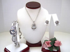 "Brighton ""NIGHT WATCH"" Owl Necklace-Earring-Bracelet Set (MSR$180) NWT/Pouch"