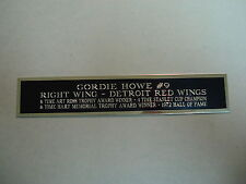 Gordie Howe Red Wings Nameplate For An Autographed Hockey Photo Or Case 1.25 X 6