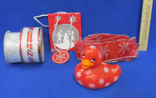 Nos Christmas Gift Wrapping Supplies Red Silver Ribbon Bag & Rubber Duck Lot 6