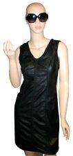*  M.S.S.P. Max Studio Braid Trim Black Faux Leather Dress S Small *