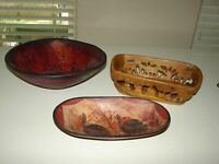 Vintage African Tribal Art Wooden Hand Carved Bowls Baskets- Lot of 3