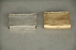 2 Pc Old White Metal & Brass Floral Book Shape Handcrafted Betel Nut Boxes