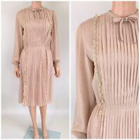 Vintage 60s 70s Victor Costa Dress Semi Sheer Blush Chiffon Pintuck Lace Trim M
