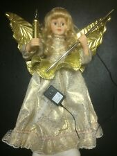 "Electric Motion Angel Holds Candle Wand bulb Blond White Gold 24"" Christmas"