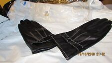 black leather look fur lined driving  gloves, new