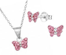 Girls Children 925 Sterling Silver Pink Butterfly Crystal Necklace Earring Set