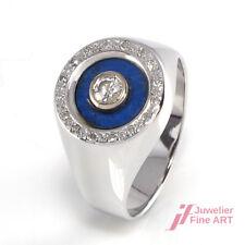 Ring 14K/585 Weißgold mit Lapislazuli und Diamanten ca. 0,20 ct - 3,9 g - 51