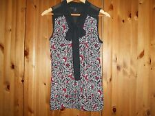 *NEW* - ex NEXT - Gorgeous Black with Black/White/Red Sleeveless Top - size 16