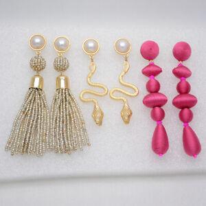 Baublebar jewelry seed beads Boho fringe tassel hoop dangle earrings snake gold