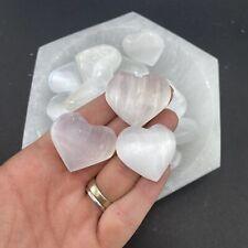 Mini Selenite Heart, Pocket Selenite Heart, Polished Selenite Heart