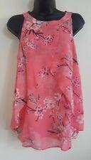 NEW Ex M&Co Pink Oriental Blossom Print Chiffon Layered Vest Blouse Top 10-18