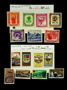 COLOMBIA ARCHITECTURE FLOWERS TOURISM 15v MNH STAMPS