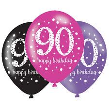 6 X 90th Ballons Anniversaire Noir Rose Lilas Décoration de Fête Âge 90 Ans