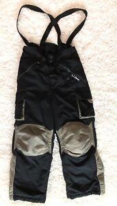 LL BEAN Boys 8 / Small Snow Ski Pants Black Gray removable suspenders GUC