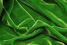 "SILK RAYON VELVET KELLY GREEN SOLID FABRIC 45"" CLOTHING DRAPERY DRESSES YARD"