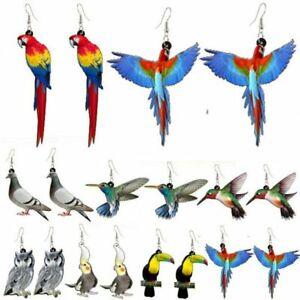 Cute Birds Hummingbird Parrot Animals Earrings Stud Hook Drop Dangle Women Gift