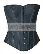 Denim Full Steel Bone Spiral Victorian Overbust Bustier Gothic Blue Jeans Corset