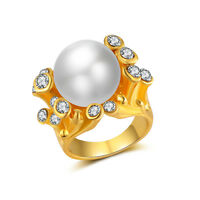 18K Yellow Gold Filled Women Pearl FlowerRings Men Rings J017