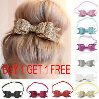 2X Girls Baby Headband Bow Flower Hair Band Accessories Headwear Elastic Gift