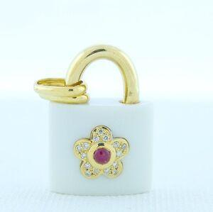 18K Gold White Agate Lock Diamond Ruby & Flower Charm for Bracelet or Pendant