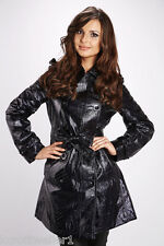 SIZE S UK 8 BLACK PVC FAUX LEATHER LOOK 60'S STYLE QUILTED JACKET COAT MAC BNWT
