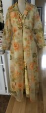 New listing 60s 70s Yellow Sheer Floral Gown Size 14 / 9 Med Vintage House Dress Long Sleeve