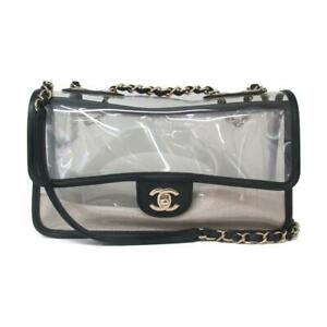 Authentic CHANEL Chain shoulder bag PVC sand Clear Black Used CC Coco