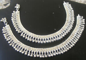 Handmade Pure Silver Anklet Pair Indian Pure Chandi Payal