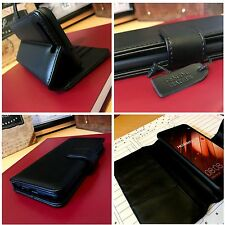 Xperia XA1 ULTRA..   Real Genuine Leather Wallet Protective Book Case Black