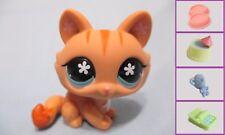 Littlest Pet Shop Orange Striped Crouching Cat #649+1 FREE Access 100% Authentic