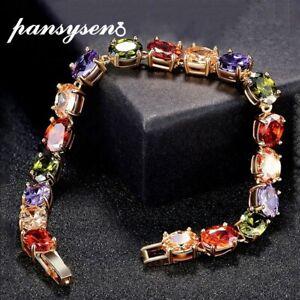 Rose Gold Bracelet 18cm Ruby Amethyst Peridot Gemstone 925 Silver Xmas Gifts Her