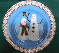 Sakura Debbie Mumm Snowman Salad Dessert Serving Plate(s) 2 Snowman Bird Hat