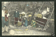 Mapuche Araucanos Indian weaving Ruca Chile stamp ca 1895