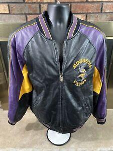 Minnesota Vikings NFL Football GIII Leather Varsity Lettermen Jacket Mens Medium