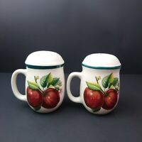 Set of Large Apple Salt and Pepper Shakers With Handles