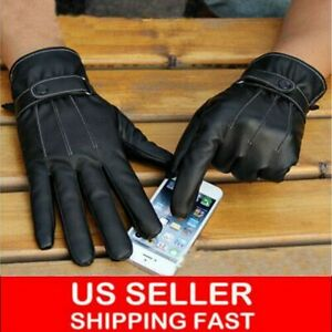 Mens Leather Winter Warm Touch Screen Gloves Full Finger Motorcycle Driving USA