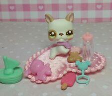 Littlest Pet Shop Welpe #2554 Cutest Pets Baby Bulldog & Accessoires Zubehör HTF