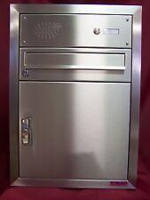 Unterputz Briefkasten anlage Paketfach Edelstahl mit Paket und Klingel UPH30
