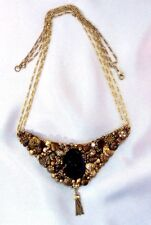 "Purple Cameo Necklace Victorian Inspired Hand Made Goldtone Tasseled 28""-Unique!"