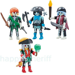 Playmobil Ghost Pirates Captain 6591 and 3x Ghost Pirates 6592 Addon Figures NEW